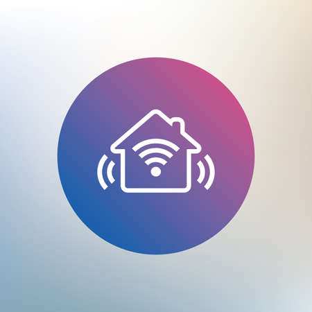 security token: Smart home sign icon. Smart house button. Remote control. Icon on blurred background. Vector