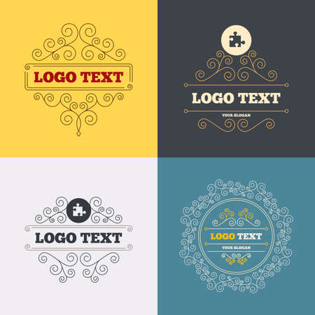 conundrum: Vintage flourishes calligraphic. Puzzle piece sign icon. Strategy symbol. Luxury ornament lines. Vector Illustration
