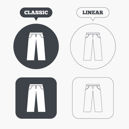 Mens jeans or pants sign icon. Casual clothing symbol. Classic and line web buttons. Circles and squares. Vector