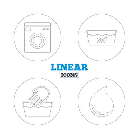 washable: Hand wash icon. Machine washable at 30 degrees symbols. Laundry washhouse and water drop signs. Linear outline web icons. Vector