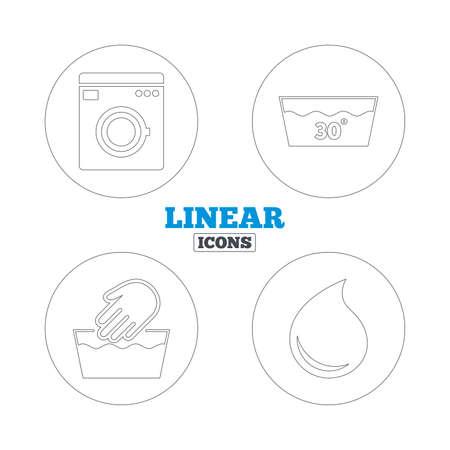 washable: Icono de lavar a mano. Lavable a m�quina a 30 grados s�mbolos. Lavadero Servicio de lavander�a y gota de agua signos. Iconos de la web de contorno lineales. Vector