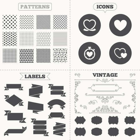 palpitation: Seamless patterns. Sale tags labels. Heart ribbon icon. Timer stopwatch symbol. Love and Heartbeat palpitation signs. Vintage decoration. Vector