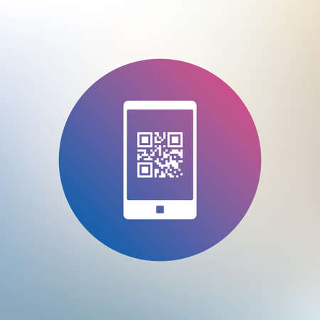 coded: Qr code sign icon. Scan code in smartphone symbol. Coded word - success! Icon on blurred background. Vector