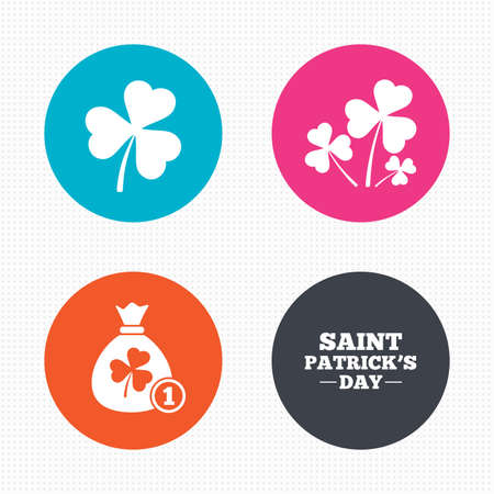 clover buttons: Circle buttons. Saint Patrick day icons. Money bag with clover and coin sign. Trefoil shamrock clover. Symbol of good luck. Seamless squares texture. Vector