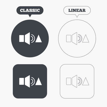 louder: Speaker volume louder sign icon. Sound symbol. Classic and line web buttons. Circles and squares. Vector Illustration