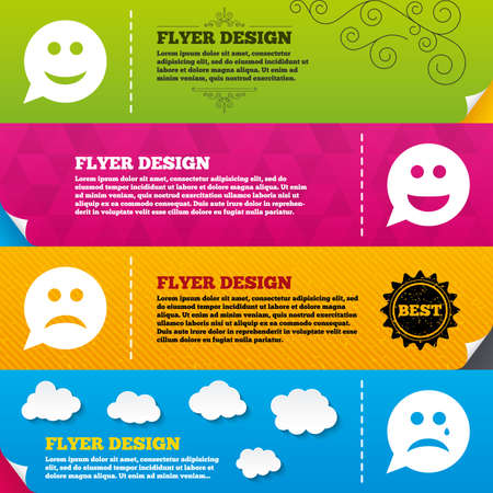 happy sad: Flyer brochure designs. Speech bubble smile face icons. Happy, sad, cry signs. Happy smiley chat symbol. Sadness depression and crying signs. Frame design templates. Vector