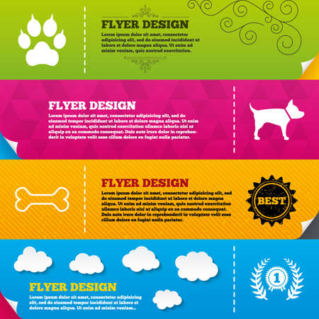 clutches: Flyer brochure designs. Pets icons. Cat paw with clutches sign. Winner laurel wreath and medal symbol. Pets food. Frame design templates. Vector