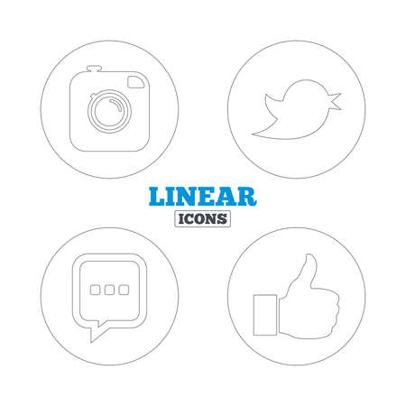 chat up: Hipster photo camera icon. Like and Chat speech bubble sign. Hand thumb up. Bird symbol. Linear outline web icons. Vector