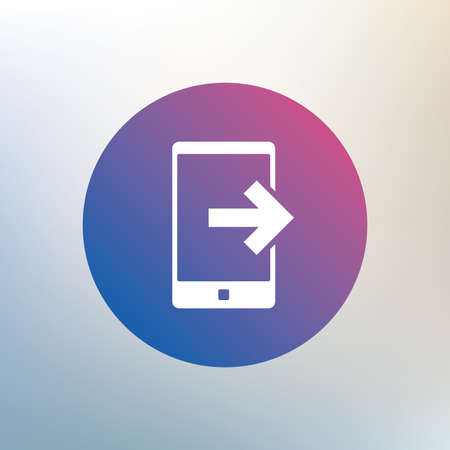 outcoming: Outcoming call sign icon. Smartphone symbol. Icon on blurred background. Vector