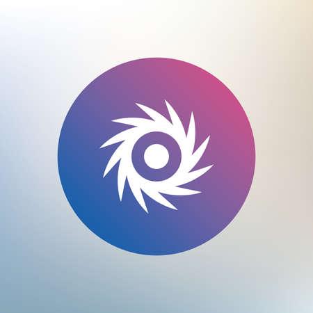 cutting blade: Saw circular wheel sign icon. Cutting blade symbol. Icon on blurred background. Vector Illustration
