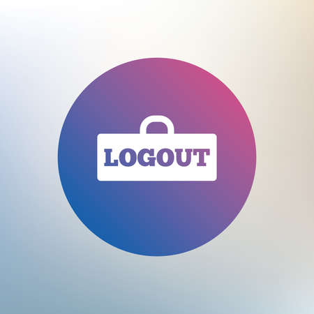 lock out: Logout sign icon. Sign out symbol. Lock icon. Icon on blurred background. Vector Illustration