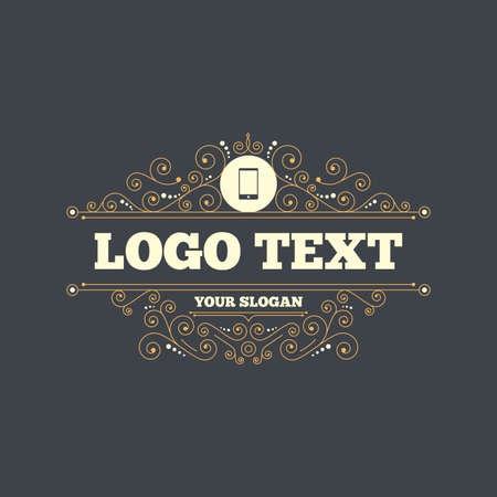 phone symbol: Smartphone sign icon. Support symbol. Call center. Flourishes calligraphic ornament. Vector Illustration