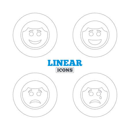 happy sad: Circle smile face icons. Happy, sad, cry signs. Happy smiley chat symbol. Sadness depression and crying signs. Linear outline web icons. Vector Vettoriali