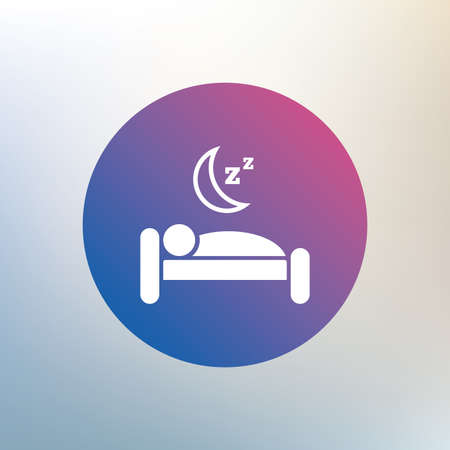 sleeper: Hotel apartment sign icon. Travel rest place. Sleeper symbol. Icon on blurred background. Vector