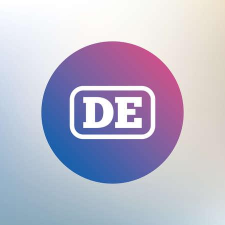 deutschland: German language sign icon. DE Deutschland translation symbol with frame. Icon on blurred background. Vector Illustration