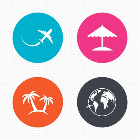 icon buttons: Circle buttons. Travel trip icon. Airplane, world globe symbols. Palm tree and Beach umbrella signs. Seamless squares texture. Vector