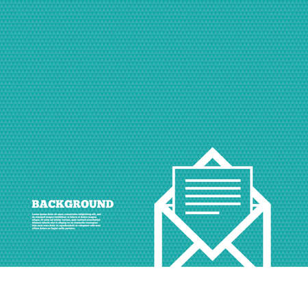 envelope: Background with seamless pattern. Mail icon. Envelope symbol. Message sign. Mail navigation button. Triangles green texture. Vector