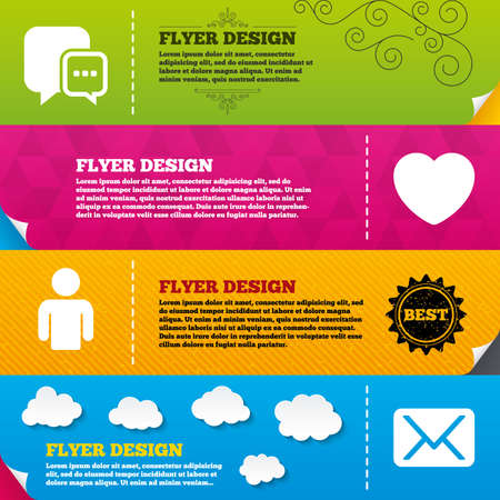 design media love: Flyer brochure designs. Social media icons. Chat speech bubble and Mail messages symbols. Love heart sign. Human person profile. Frame design templates. Vector Illustration