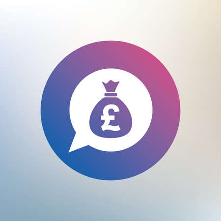 gbp: Money bag sign icon. Pound GBP currency speech bubble symbol. Icon on blurred background. Vector