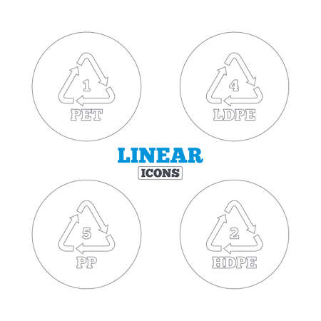 polyethylene: PET 1, Ld-pe 4, PP 5 and Hd-pe 2 icons. High-density Polyethylene terephthalate sign. Recycling symbol. Linear outline web icons. Vector Illustration
