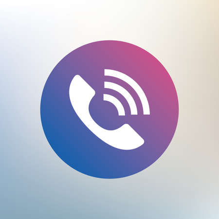 rang: Phone sign icon. Support symbol. Call center. Icon on blurred background. Vector