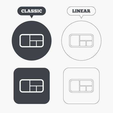 classic furniture: Stand sign icon. Modern furniture symbol. Classic and line web buttons. Circles and squares. Vector Illustration