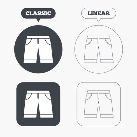 Mens Bermuda shorts sign icon. Clothing symbol. Classic and line web buttons. Circles and squares. Vector