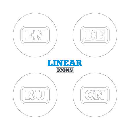en: Language icons. EN, DE, RU and CN translation symbols. English, German, Russian and Chinese languages. Linear outline web icons. Vector