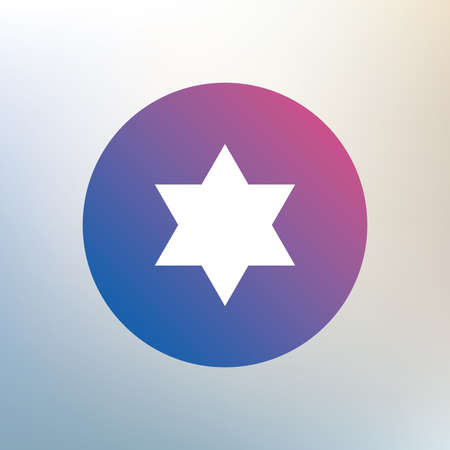 hexagram: Star of David sign icon. Symbol of Israel. Jewish hexagram symbol. Shield of David. Icon on blurred background. Vector