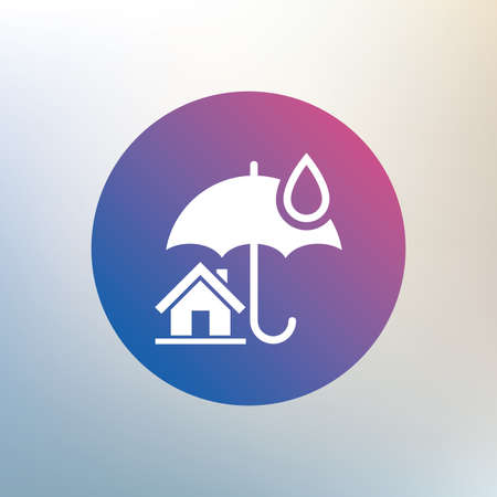 belay: Home insurance sign icon. Real estate insurance symbol. Icon on blurred background. Vector Illustration
