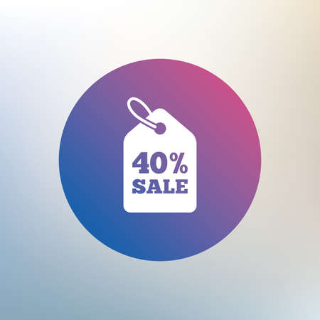 price label: 40% sale price tag sign icon. Discount symbol. Special offer label. Icon on blurred background. Vector