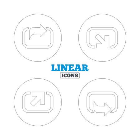 forward arrow: Action icons. Share symbols. Send forward arrow signs. Linear outline web icons. Vector