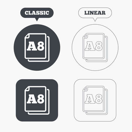 a8: Paper size A8 standard icon. File document symbol. Classic and line web buttons. Circles and squares. Vector Illustration