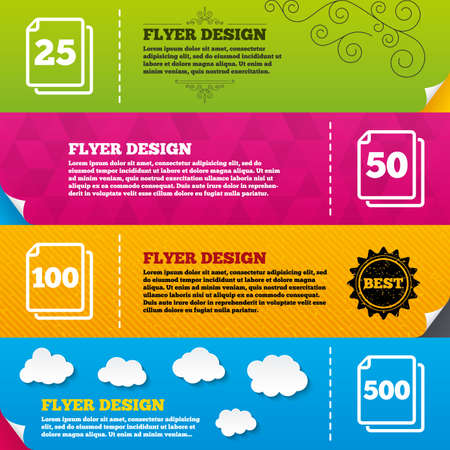 quantity: Flyer brochure designs. In pack sheets icons. Quantity per package symbols. 25, 50, 100 and 500 paper units in the pack signs. Frame design templates. Vector