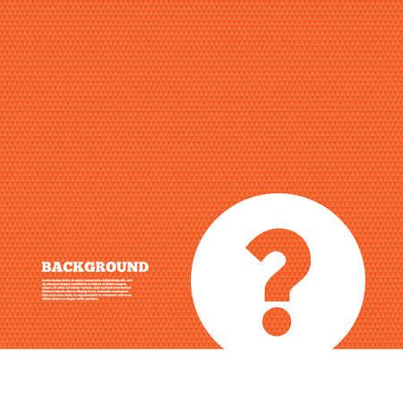 punto di domanda: Sfondo con seamless. Question mark sign icon. Simbolo di aiuto. Segno FAQ. TRIANGOLI texture arancione. Vettore