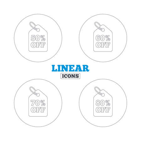 50 to 60: Sale price tag icons. Discount special offer symbols. 50%, 60%, 70% and 80% percent off signs. Linear outline web icons. Vector