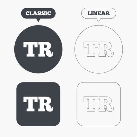 tr: Turkish language sign icon. TR Turkey translation symbol. Classic and line web buttons. Circles and squares. Vector Illustration