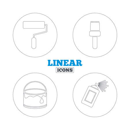 roller brush: Painting roller, brush icons. Spray can and Bucket of paint signs. Wall repair tool and painting symbol. Linear outline web icons. Vector