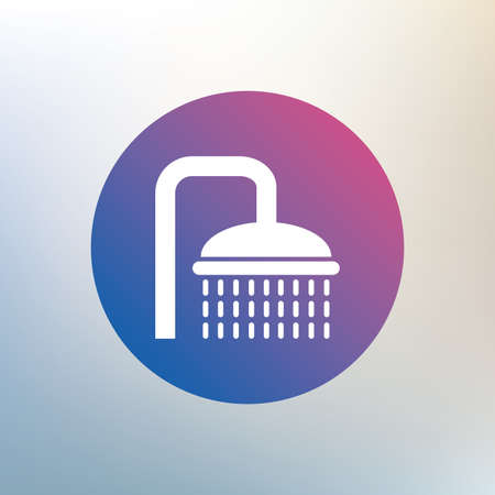 douche: Shower sign icon. Douche with water drops symbol. Icon on blurred background. Vector