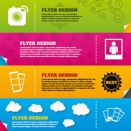 photo: Flyer brochure designs. Hipster photo camera icon. Flash light symbol. Photo booth strips sign. Human portrait photo frame. Frame design templates. Vector