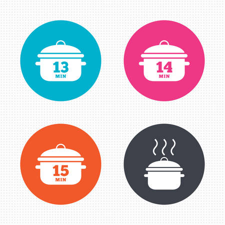 stew: Circle buttons. Cooking pan icons. Boil 13, 14 and 15 minutes signs. Stew food symbol. Seamless squares texture. Vector