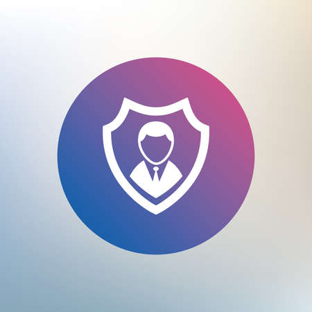 security symbol: Security agency sign icon. Shield protection symbol. Icon on blurred background. Vector