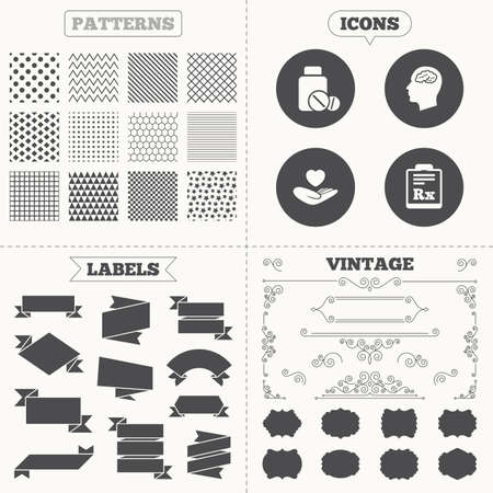 rx: Seamless patterns. Sale tags labels. Medicine icons. Medical tablets bottle, head with brain, prescription Rx signs. Pharmacy or medicine symbol. Hand holds heart. Vintage decoration. Vector