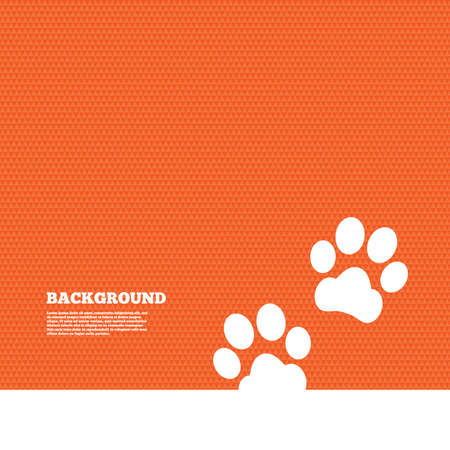 orange texture: Background with seamless pattern. Paw sign icon. Dog pets steps symbol. Triangles orange texture. Vector