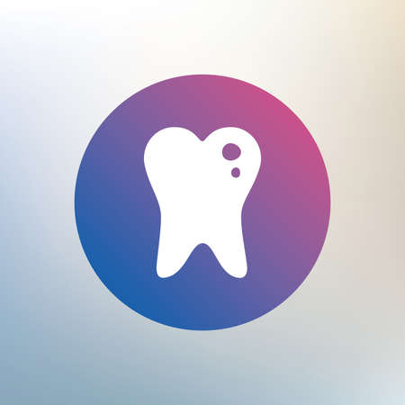 stomatologist: Caries tooth icon. Tooth filling sign. Dental care symbol. Icon on blurred background. Vector Illustration