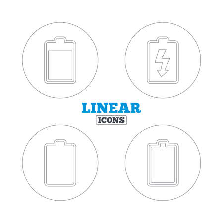 electrochemical: Battery charging icons. Electricity signs symbols. Charge levels: full, empty. Linear outline web icons. Vector