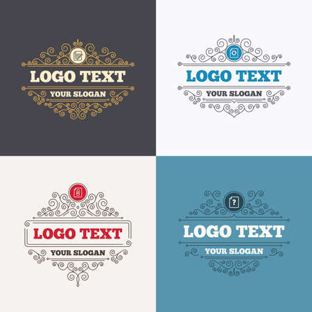 attach: Flourishes calligraphic emblems. File refresh icons. Question help and pencil edit symbols. Paper clip attach sign. Luxury ornament lines. Vector