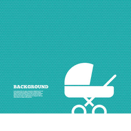 green texture: Background with seamless pattern. Baby pram stroller sign icon. Baby buggy. Baby carriage symbol. Triangles green texture. Vector