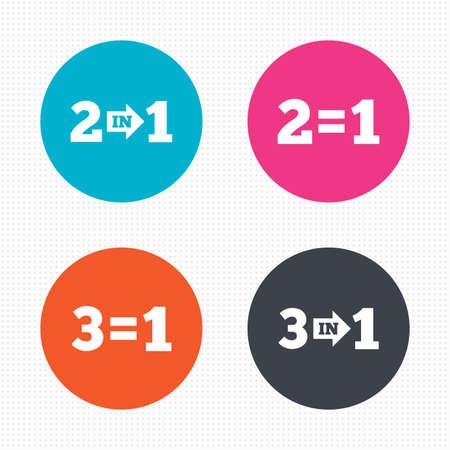 equals: Kreis-Schaltfl�chen. Sonderangebot Symbole. Nehmen Sie zwei Lohn f�r ein Zeichen Symbole. Profitieren Sie bei Einsparung. Nahtlose Quadrate Textur. Vektor Illustration