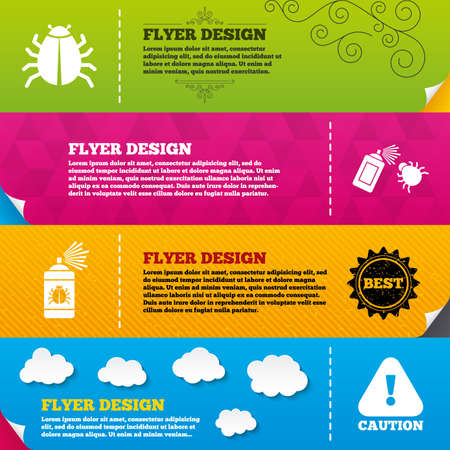 insanitary: Flyer brochure designs. Bug disinfection icons. Caution attention symbol. Insect fumigation spray sign. Frame design templates. Vector